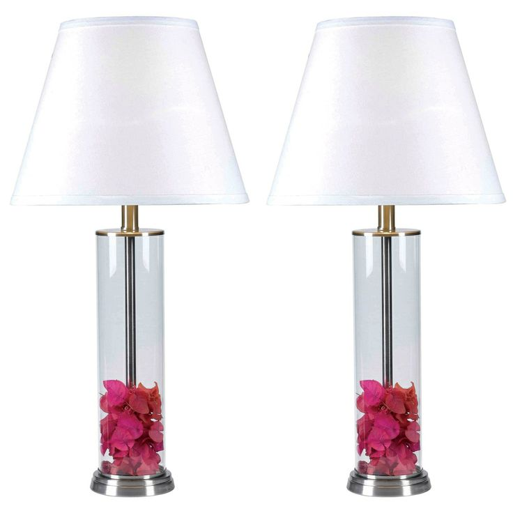 clear glass fillable table lamp set of 2. Black Bedroom Furniture Sets. Home Design Ideas