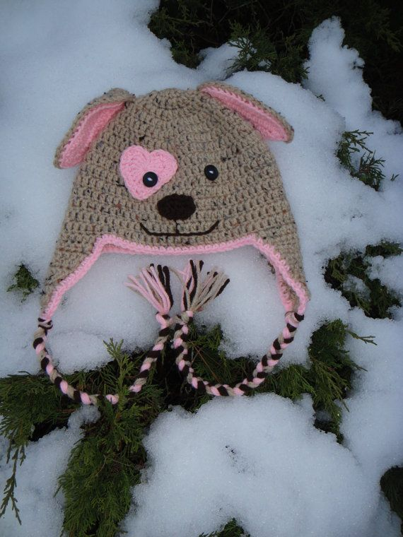 Valentines Day - Puppy Dog Crocheted Hat,Crochet earflap ...