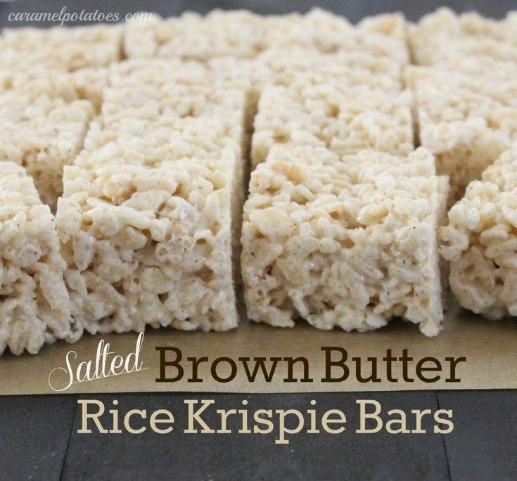Salted Brown Butter Rice Krispie Bars   It's Snack Time!   Pinterest