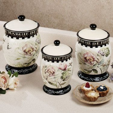 Marche de fleurs kitchen canister set pretty pretty things pinter for Kitchen set elegant