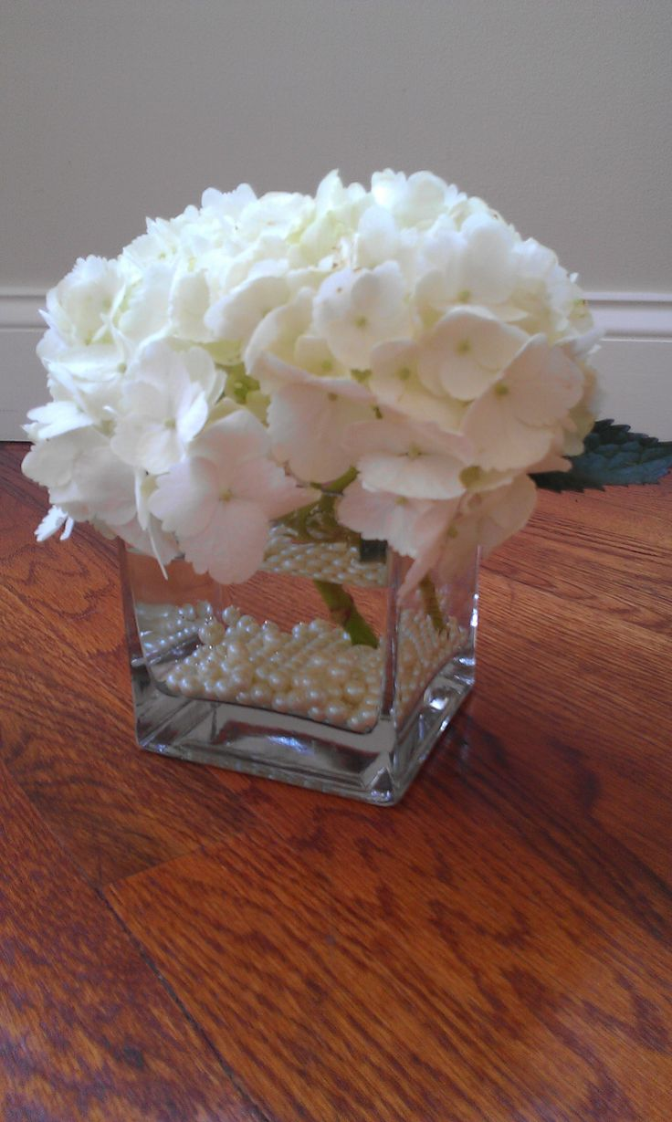 Hydrangea and pearl centerpiece centerpieces pinterest