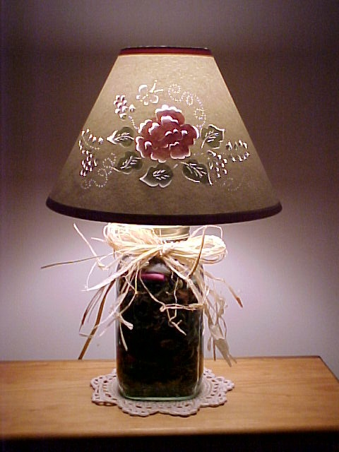 Painted Cut and Pierce Lampshade on Mason Jar w/ Potpourri Base - Bygone Reflections