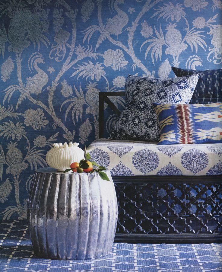 Madeline Weinrib Blue Isabelle Blockprint upholstered bench and Indigo Brooke Cotton Carpet, featured in Elle Decor November 2008.