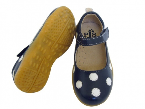 Navy with White Polka Dot Large Maryjanes :: Puddle Jumper Shoes