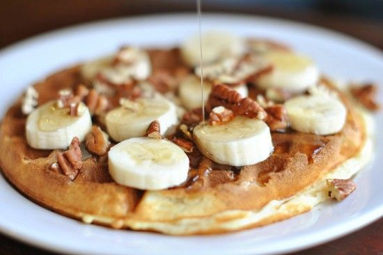 Waffles. banana , walnuts, and syrup. to die for.