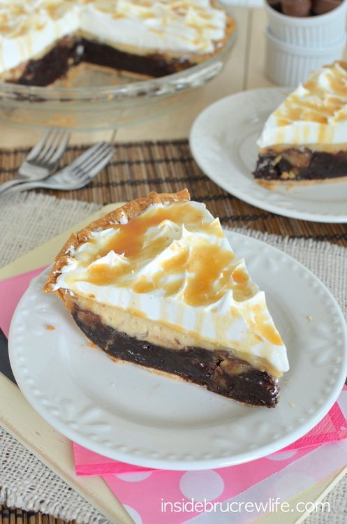 Salted Caramel Brownie Cheesecake Pie - three layers of salted caramel ...