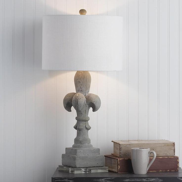 concrete fleur de lis table lamp. Black Bedroom Furniture Sets. Home Design Ideas