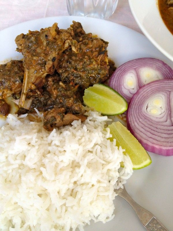 "Goat Curry with cardamoms and spinach ""Elaichi Mutton"". So good I h..."