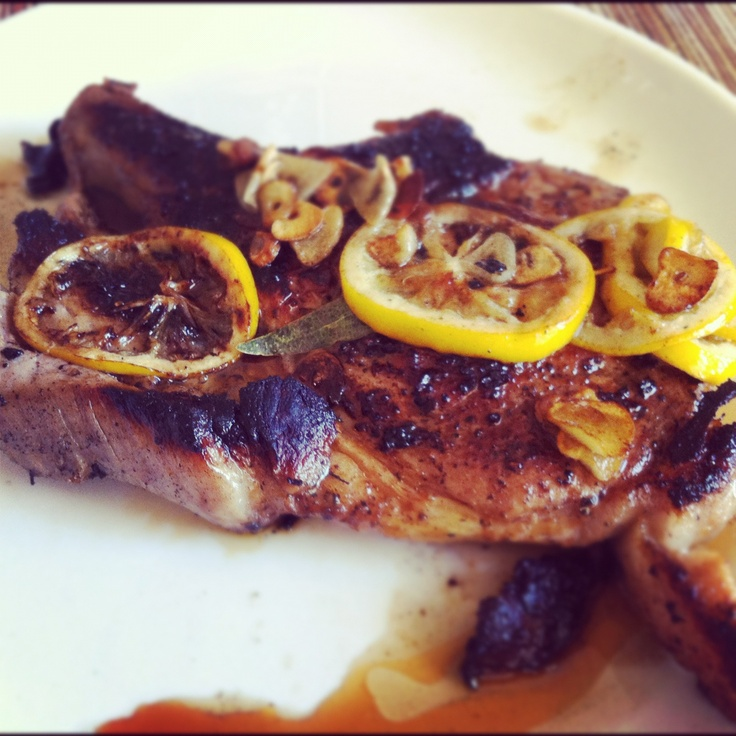 Pan Seared Pork Chops with Meyer Lemon, Garlic and Bay Leaves (brined ...