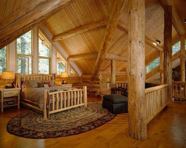 Bedroom Loft Log Cabin Little Cabin In The Woods Pinterest