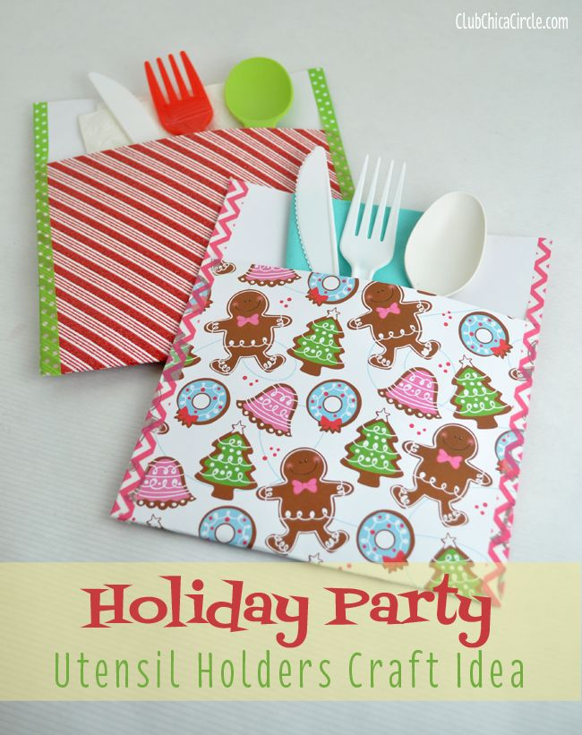 Holiday party utensil holder craft idea