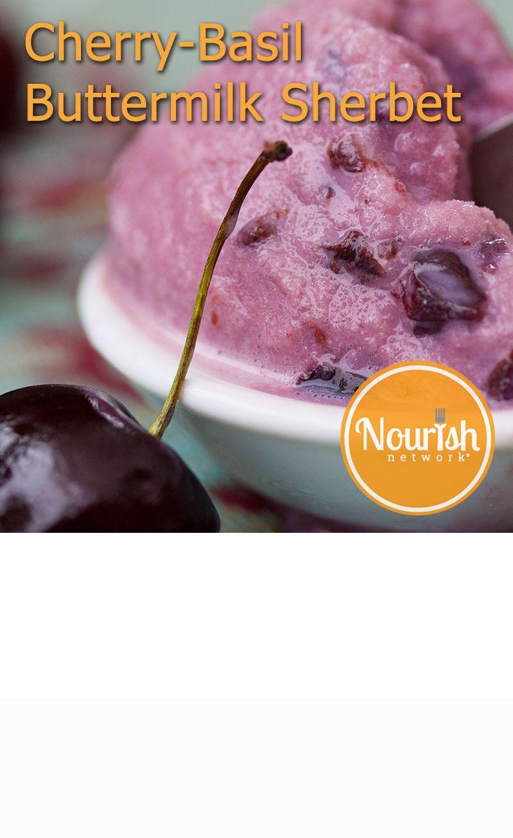 Cherry-Basil Buttermilk Sherbet http://ow.ly/myf9q #healthyrecipes # ...