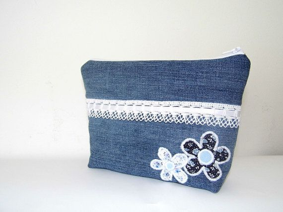 Romantic denim tote and cosmetic bag with by MelindasSewingCorner