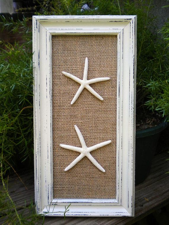 Beach Chic Wall Decor : Cottage chic framed starfish wall art dorm