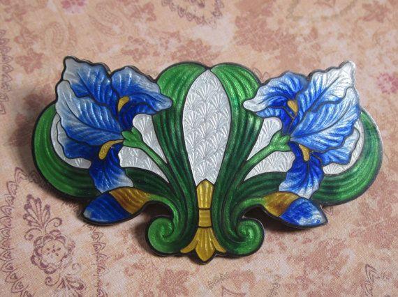Art Nouveau Sterling Silver And Enamel Cloisonne Iris Brooch