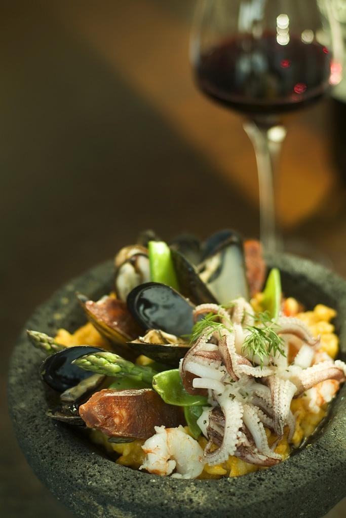 """Lazy Paella: Calamari, Prawns, Mussels, Chorizo, """"Bomba"""" Rice ..."""