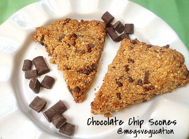 gluten free, paleo, refined sugar free Chocolate Chip Scones