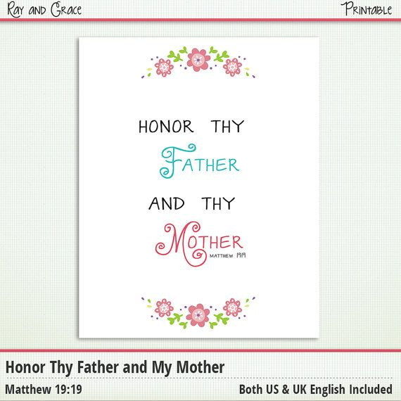 Bible verse printable honor thy father and mother matthew 19 19 s