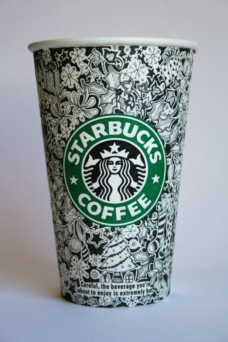 Hand-drawn Starbucks cups? I'd start drinking coffee again for one of these beauties.