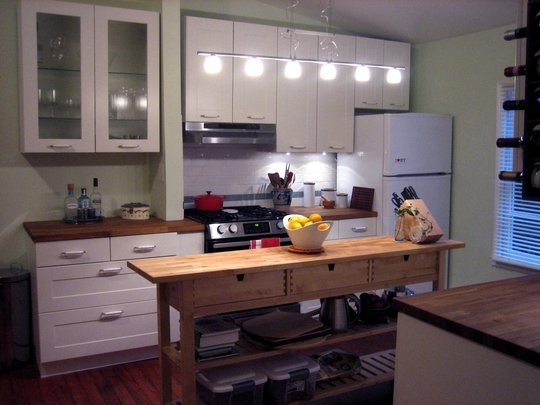 Long narrow kitchen island green stripe pinterest for Kitchen designs for long narrow kitchens