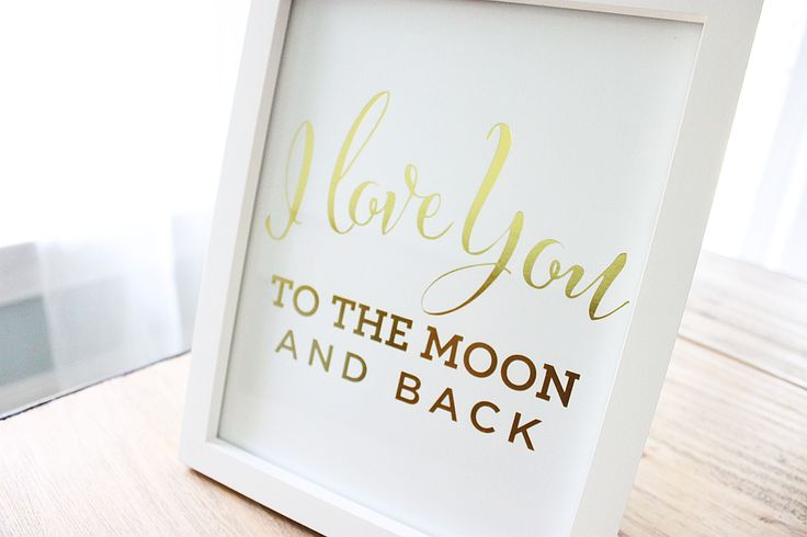 """I love You To The Moon And Back"" Gold Foil Wall Print - perfect for the nursery! #PNshop"