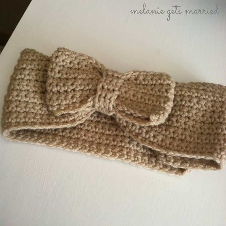 crocheted bow headband