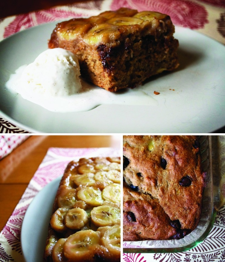 Upside Down Banana Chocolate Chip Cake | yummy treats | Pinterest
