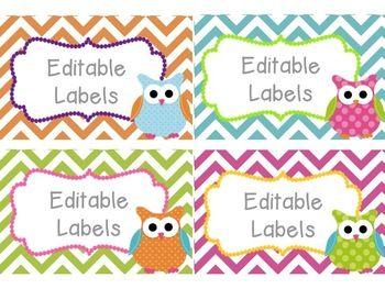 Editable Owl Labels – Printable Editable Blank