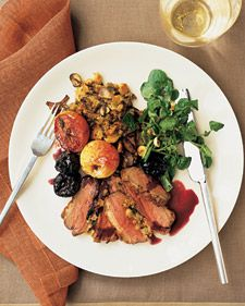 Roasted Duck Breasts with Wild Mushroom Stuffing and Red-Wine Sauce ...