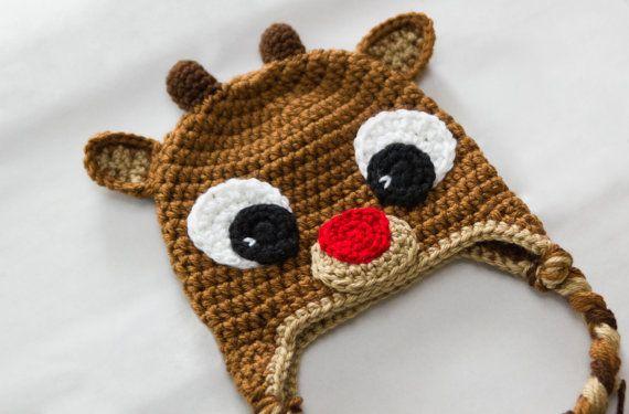 Free Crochet Pattern Baby Receiving Blanket : Rudolph Reindeer Hat - Crochet Baby Hat