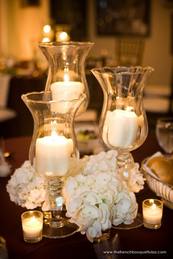 White Hydrangea Wedding Centerpieces : Candles and white hydrangea flowers bouquets