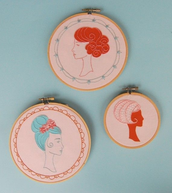 Photo 5. Embroidery Patterns 'Wig Wonderful Pattern Set' with Applique Templates $6.00. Approx. £3.90