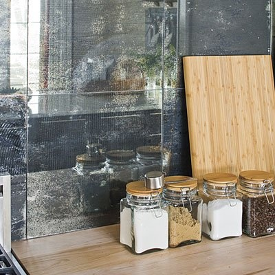 Antique Mirrored Tile Backsplash For The Home Pinterest