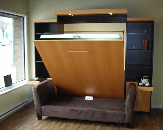 Backless Sofa In Front Of A Murphy Bed Entertainment Room Basement