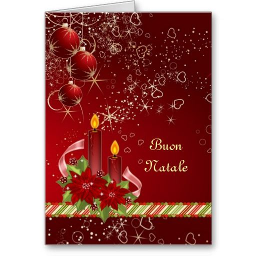 Candels Poinsettia Italian Christmas Greeting Card