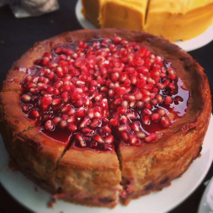 Chestnut cheesecake with pomegranate seeds -- but with cranberries?