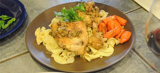 Braised Chicken With Capers and Parsley… With Egg Noodles