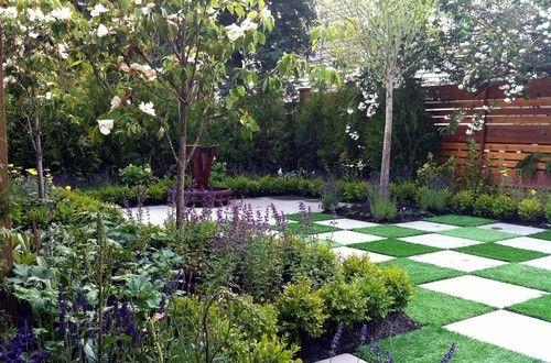 Checkerboard landscape courtyard where the heart is for Checkerboard garden designs