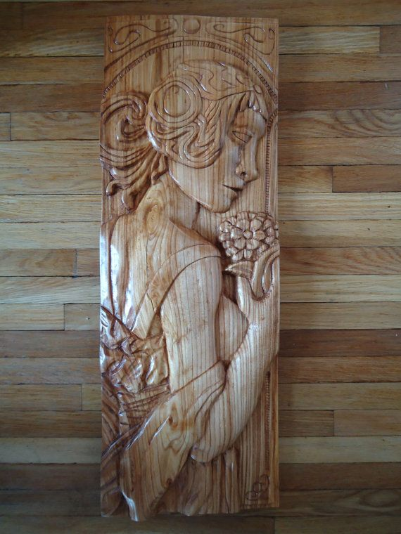 Cherry wood relief carving wall sculpture completely