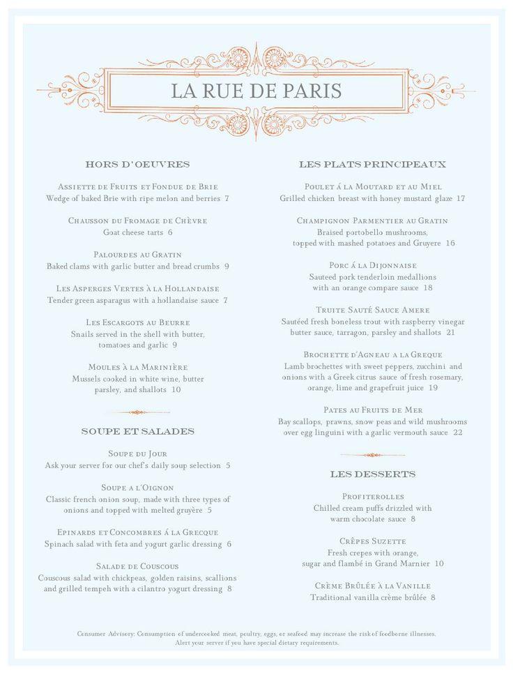 A French Menu MustHaveMenus Menus Galore Pinterest