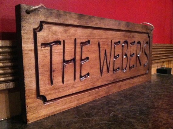 Personalized carved last name plaques wood signs rustic