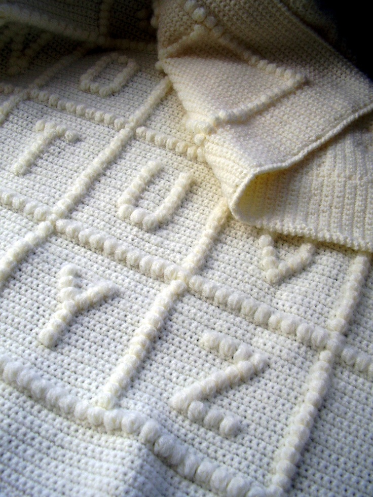 Crocheting Letters On A Blanket : Crocheted Baby Alphabet Blanket:)xM Crochet Pinterest