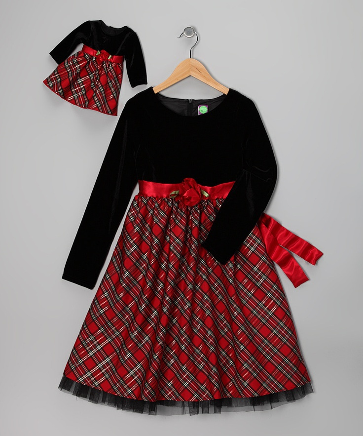 Red plaid dress amp doll outfit girls 24 99 on zulily com