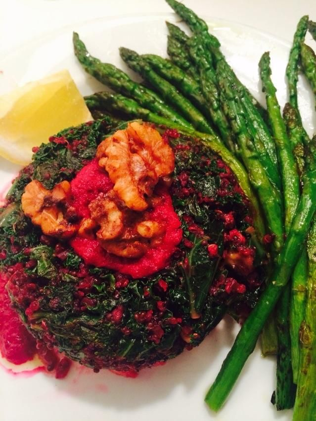 Light supps of quinoa, kale & beets (I know!) with asparagus to leave ...