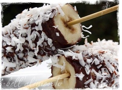 Frozen bananas dipped in nutella and covered in coconut or nuts.