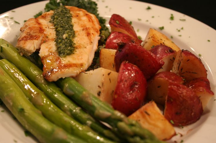 Pesto Grilled Chicken Breast served with Fresh Seasonal Vegetables and ...