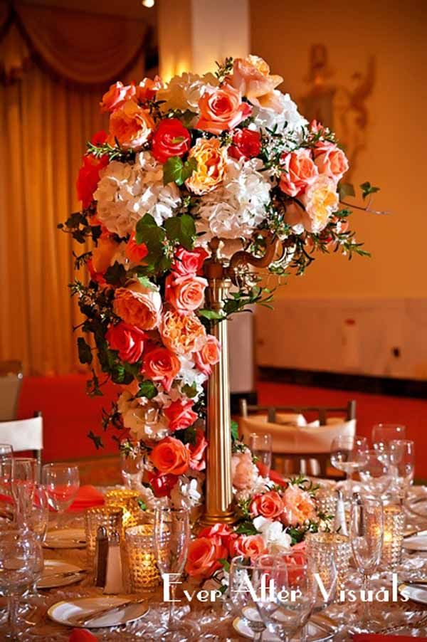 Tall Centerpiece With Fall Colors Flower Arrangements