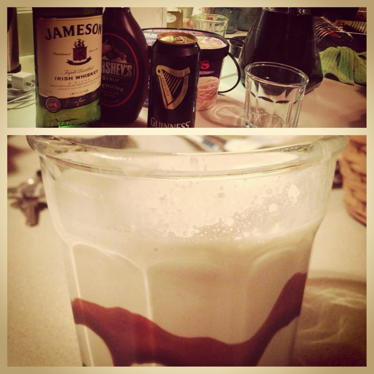 ... inside of chilled glasses with chocolate syrup, pour shake in glasses