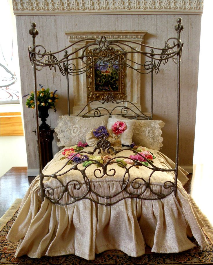 Dollhouse Miniature 1:12 Scale Artisan Dressed Wrought Iron Canopy Bed. $100.00, via Etsy.