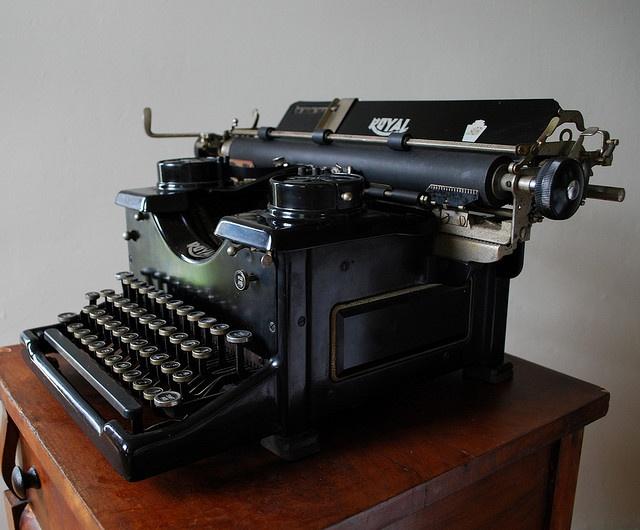 royal typewriter with paper
